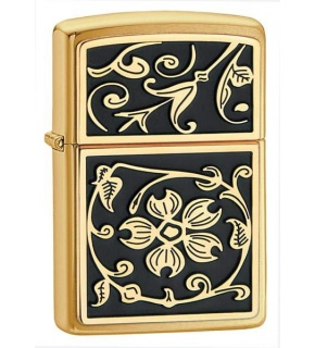ZIPPO Z20903 GOLD FLORAL FLUSH EMBLEM, BRUSHED BRASS